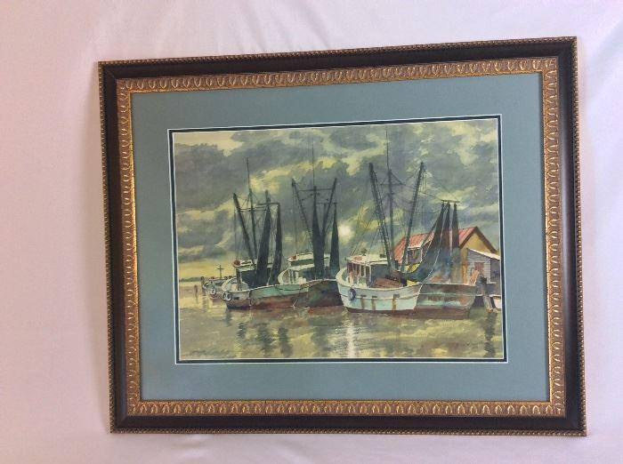 """Original Watercolor by John Mertens, 1971, 22"""" x 15 1/2""""."""