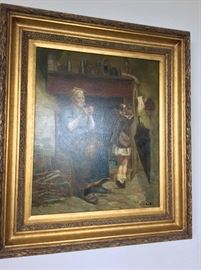 """Oil Painting, """"Mending Pants"""", P. Raulo, 19 1/2"""" x 23""""."""