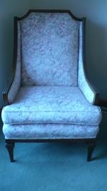 EASY CHAIR  AND MATCHING, REUPHOLSTERED , NICE