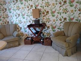 Occasional Chairs, Folding Table, Lamp, Baskets +