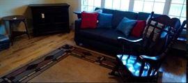dark pine rocking chair - $50, TV cabinet, sofa $200, area rug