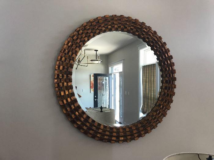 Brutalist Style Large Round Mirror