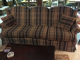 """This couch is very nice, although the """"feet"""" had to be cut off to fit it in the basement.  Made by a high-end manufacturer of furniture."""