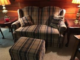 The matching loveseat and ottoman.  The loveseat does have some road burn on the back of one corner.