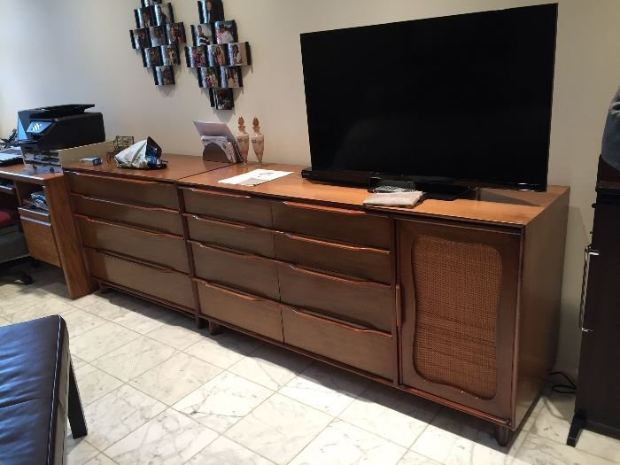 Small Mahogany MCM Dressers from Hickory Mfg.  on the left. The large one on the right is not for sale.
