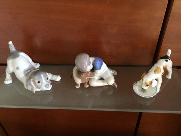 Grey Dog-Lladro, Boy-Bing & Grandahl. Dog&Saucer-Royal Doulton(repaired)
