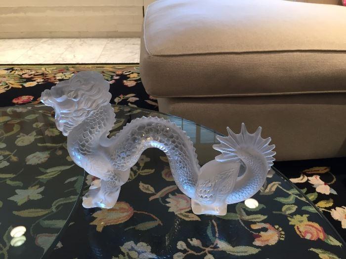 Lalique signed large Dragon