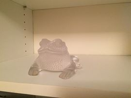 Lalique signed Crystal Toad