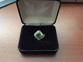 Natural Emerald (1.16ct.) (SI) Cocktail & Diamond (2.23cts) Ring 18k gold