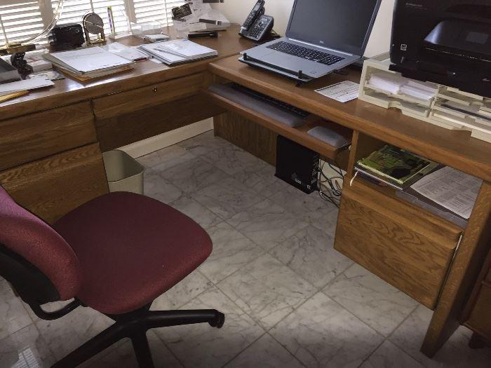 Oak desk & credenza