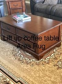 Lift up coffee table and area rug