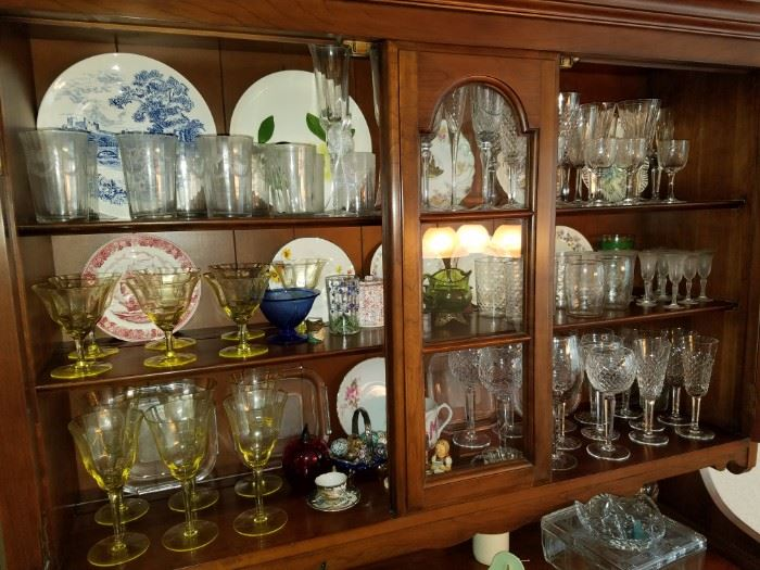 Miscellaneous vintage glassware, Waterford crystal