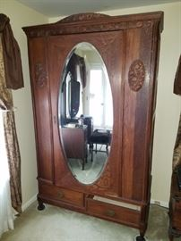 Beautiful walnut Victorian wardrobe oval bevel mirror comes apart for easy removal