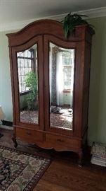 mahogany wardrobe, victorian, gorgeous bevel mirror doors