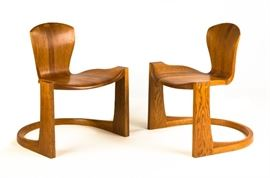 Pair of Wendell Castle (American, 1932-2018) Stacked & Laminated Quarter Sawn Oak Chairs