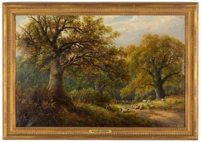 """George Turner (British, 1841-1910) """"Under the Oaks in Derbyshire"""""""