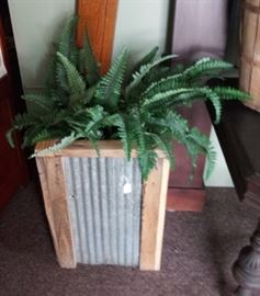 WOOD AND METAL LARGE PLANTER. THERE ARE 2 OF THESE.