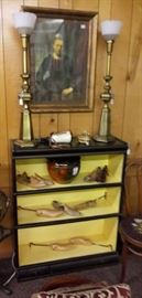 BOOK SHELVES WITH OLD WOODEN SHOE TREES