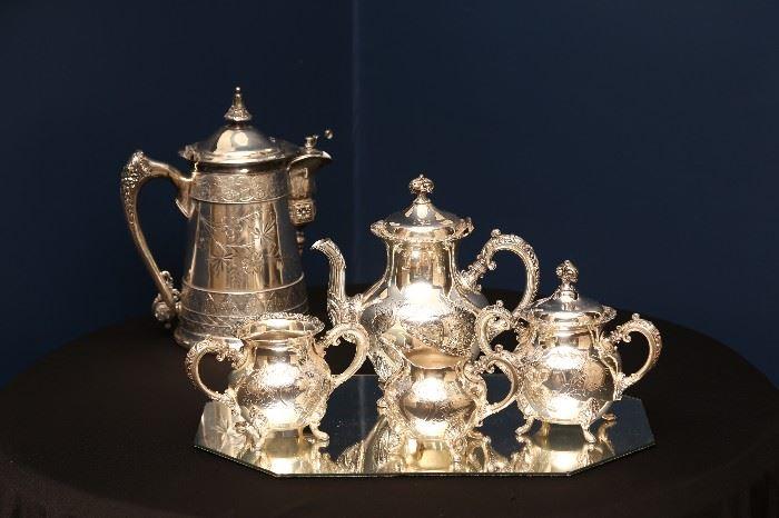 Quadruple plate antique service by Van Bergh Company; 19th C.