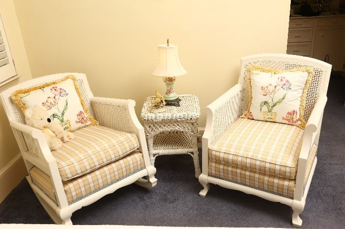 Pair of wood and wicker chairs, matching the sofa, all in excellent condition.