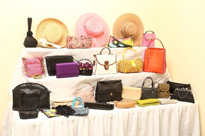 Some of the many designer handbags and Kaminski hats.