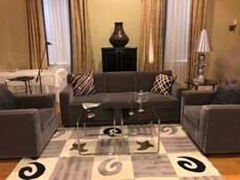 gray velvet sofa and chairs