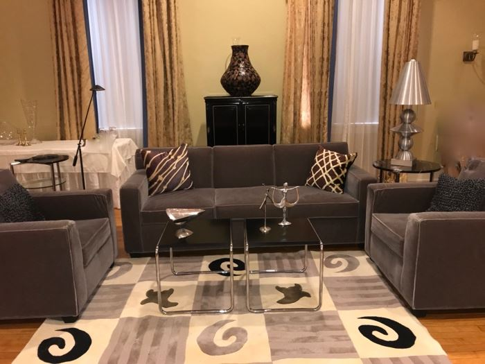 gray velvet sofa and                            chairs  Chairs sold