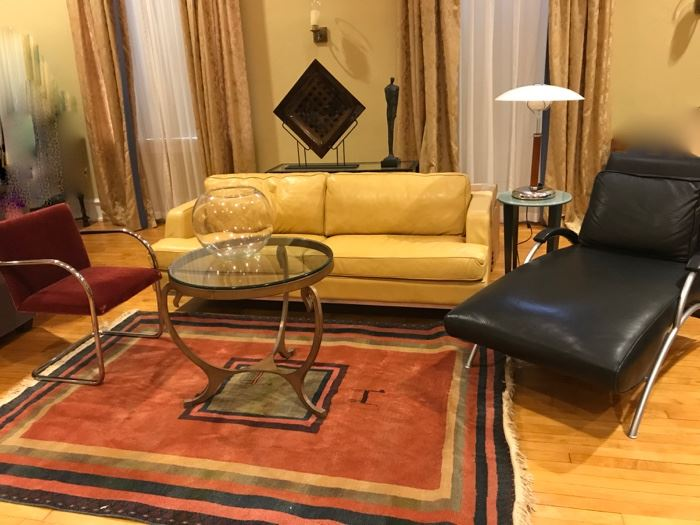 American Leather Co. yellow  sofa, sold, round glass top metal tea table,-sold ,                                        Thayer Coggin, Milo Baughman limited edition  chaise lounge 1/500