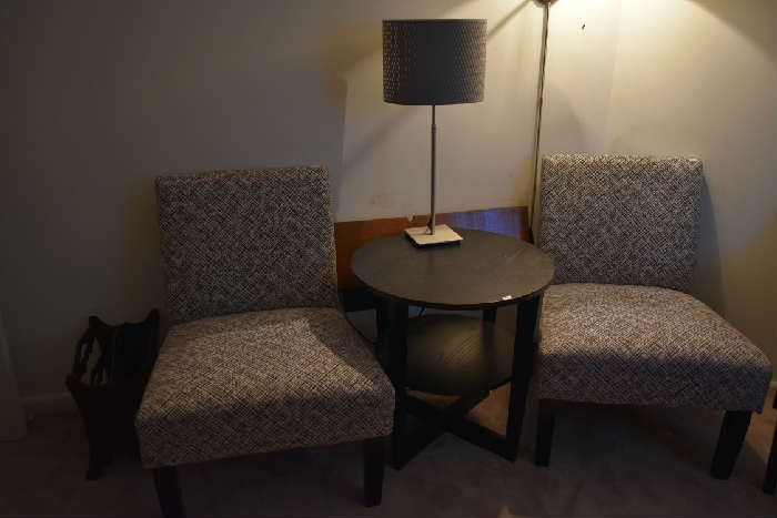 2 CHAIRS, ACCENT TABLE, LAMP