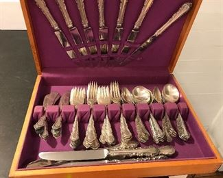 Sterling silver Reed & Barton Georgian Rose (discontinued) Complete 6 piece place setting for 12.