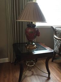Hooker glass top side table, less than 2 years old. $150   Oriental floral lamp red/gold tones. $50