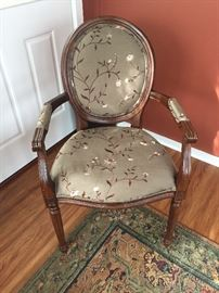 Floral silk covered side chair. $40