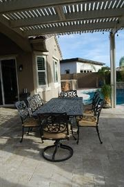 LARGE PATIO TABLE WITH 8 CHAIRS