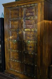 STUNNING RUSTIC ARMOIRE WITH HANDCARVED MESQUITE DOORS