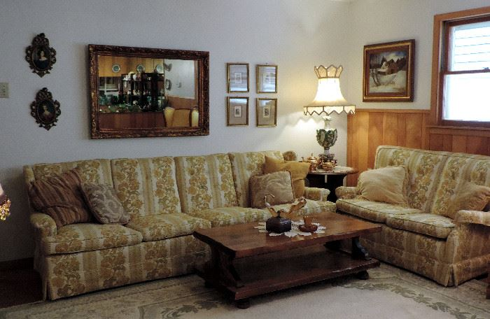 GOLD FLORAL UPHOLSTERED SOFA AND LOVE SEAT, MID CENTURY ROUND SIDE TABLE, CHUNKY WOOD 2 TIER COFFEE TABLE