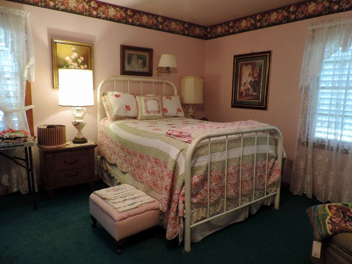 ANTIQUE WROUGHT IRON BED, NIGHT STAND, LAMPS AND PICTURES