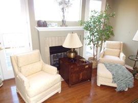 Henredon Upholstered Chairs, Ottoman and End Table.  Wildwood Brass Lamp