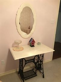 Singer sewing table legs with marble top