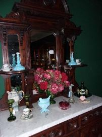 detail, a variety of Victorian & Pattern Glassware