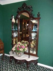 19th C, Pier Mirror Etagere, white marble shelf