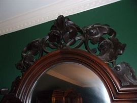 detail of Carved Crest on Pier Mirror Etagere