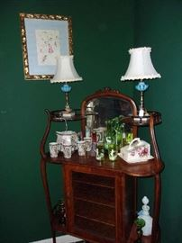 detail, watercolor of Hummingbird & Fresia, Mary Gregory Ewer & Tumblers, Lemonade set, Blue Opaline Vanity Lamps
