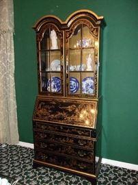 Chinoiserie style Secretary Bookcase