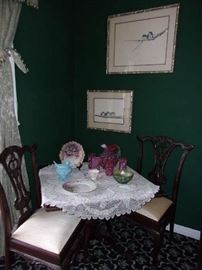 Square Chippendale style Tilt Top Tea Table & 2 Chippendale style Side Chairs