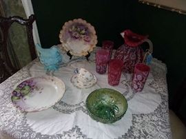 detail, hand painted China, Cranberry & White Queen Ann's Lace Lemonade set, Carnival Glass Bowl, Milk Glass Bird on Nest, Lace Table Scarf