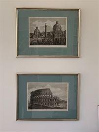 "two of four Luigi Rossini 19th century ""scenes of Rome"" etchings"
