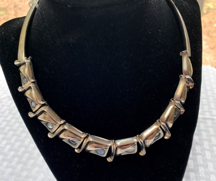 Taxco Mexican silver & moonstone necklace