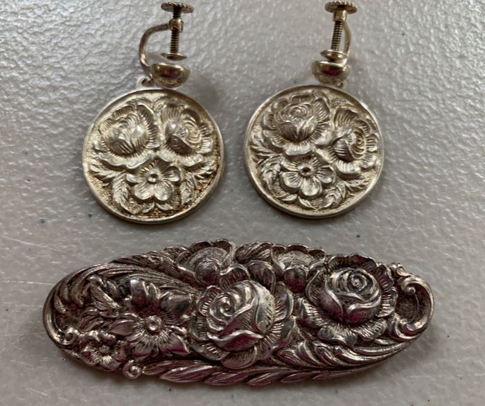 S. Kirk & Son sterling silver repousse brooch with screwback earrings