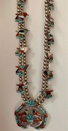 wonderful Native American sterling silver, turquoise, coral, and mother of pearl squash blossom necklace