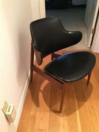 Modern, mid-century desk chair,  walnut & leather.